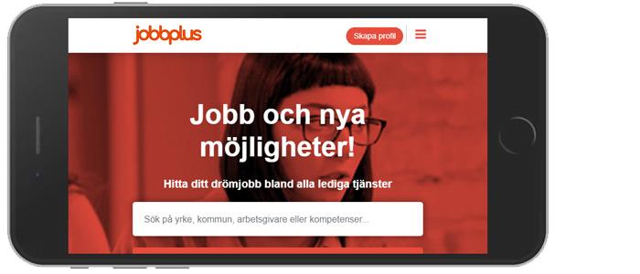 Liggande telefon som visar JobbPlus startsida